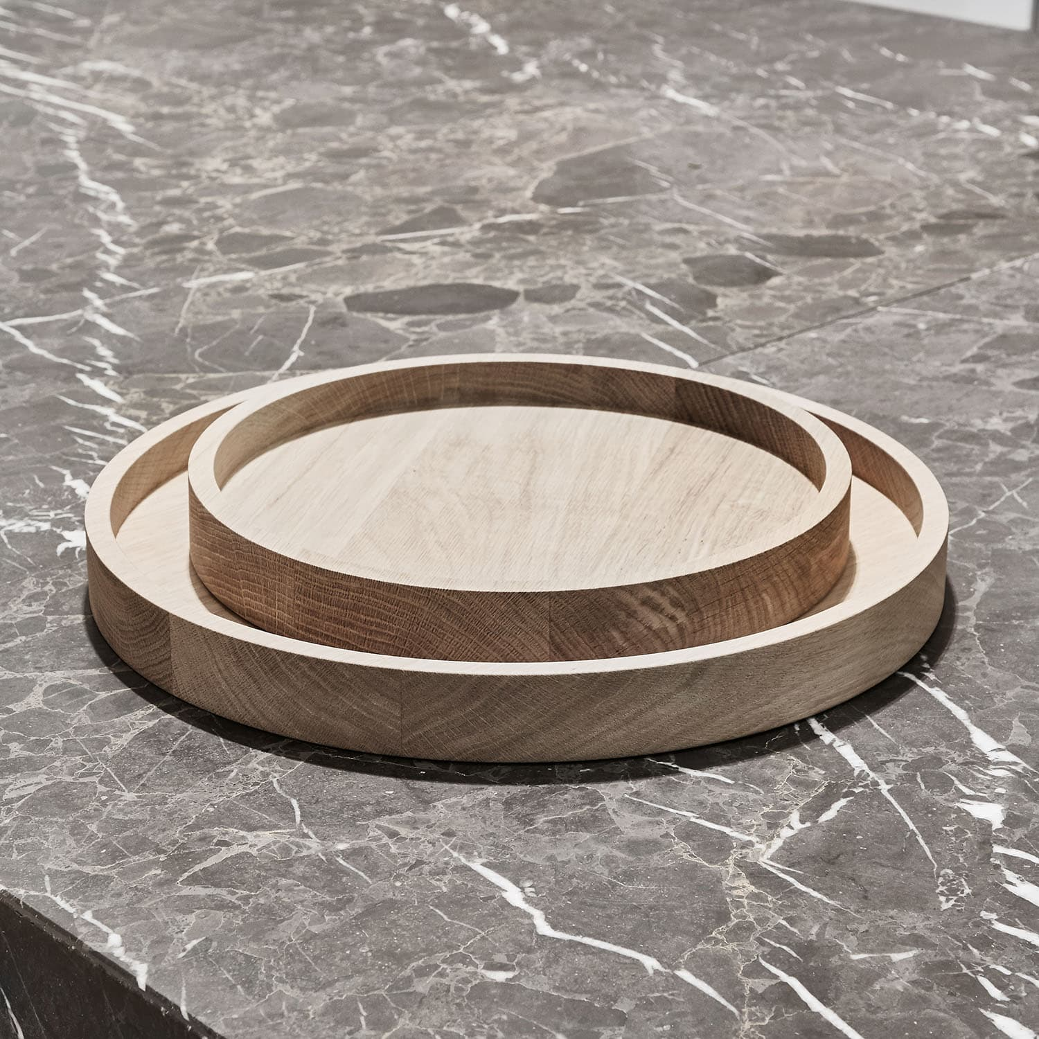 Round Tray Solid Oak